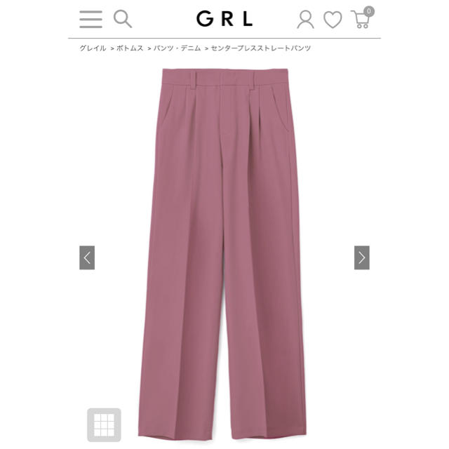 GRL(グレイル)のセンターストレートパンツ レディースのパンツ(カジュアルパンツ)の商品写真