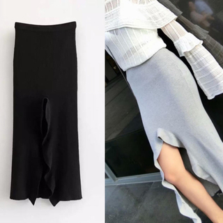 ZARA - フリル暖かニットスカート グレー
