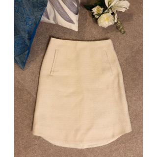 トゥモローランド(TOMORROWLAND)のDES PRES デプレ 上質感 ウール スカート 白 トゥモローランド(ひざ丈スカート)