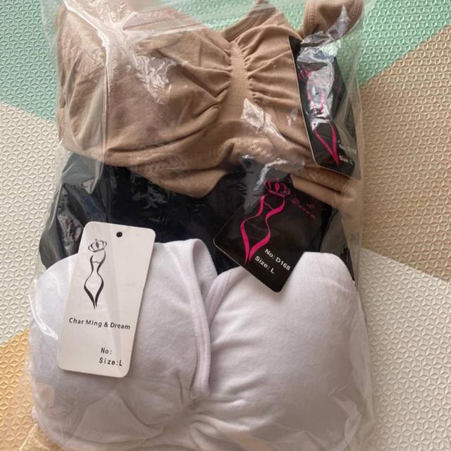 SALE ノンワイヤー ナイトブラ マタニティ 授乳ブラ スポブラ 3枚組 L レディースの下着/アンダーウェア(ブラ)の商品写真
