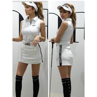 マークアンドロナ(MARK&LONA)の【MIRROR9GOLF】 Side line skirt 新品未使用タグ付き(ミニスカート)