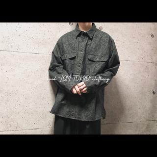 XL ブラック ヘビーコットン シャツ シャツジャケット 海外古着 メンズ(シャツ)