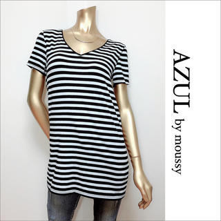AZUL by moussy - AZUL by moussy カップ付き ボーダー Tシャツ♡スライ ムルーア