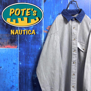 NAUTICA - 【ノーティカ】ポケット刺繍ロゴデニム襟切替ボタンダウンシャツ 90s