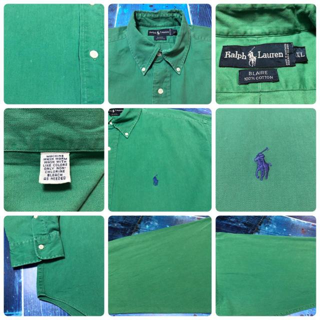 Ralph Lauren(ラルフローレン)の【ラルフローレン】ワンポイント刺繍ロゴビッグボタンダウンシャツ 90s メンズのトップス(シャツ)の商品写真