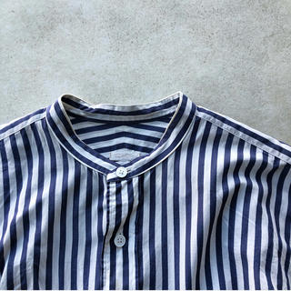 COMOLI - [COMOLI] STRIPE BAND COLLAR SHIRTS