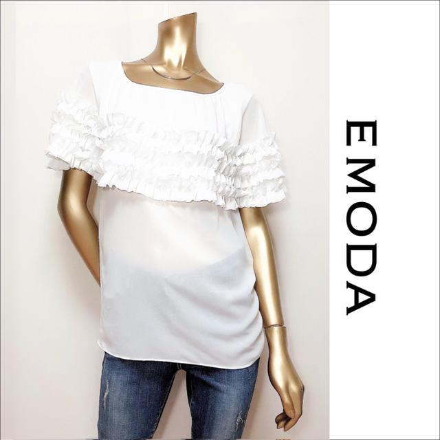EMODA(エモダ)のEMODA フリル シフォン カットソー トップス♡ムルーア ジーナシス SLY レディースのトップス(カットソー(半袖/袖なし))の商品写真