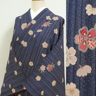 青紫色に縦縞と桜 洗える小紋(着物)