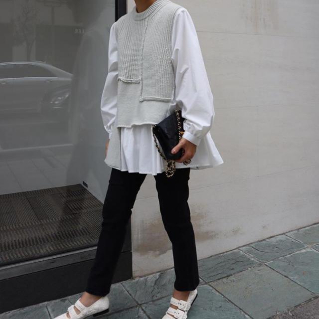 Drawer(ドゥロワー)の新品 フレアドッキングシャツニット machatt レディースのトップス(シャツ/ブラウス(長袖/七分))の商品写真