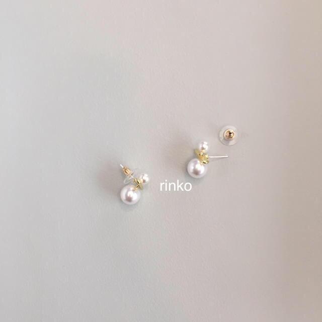 IENA(イエナ)のダブルパールバーピアス イエナ トゥモローランド トゥデイフル プラージュ レディースのアクセサリー(ピアス)の商品写真