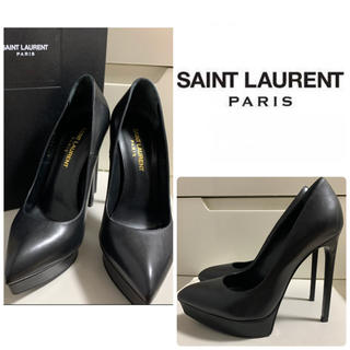 Saint Laurent - 美品 サンローラン ブラックレザー パンプス
