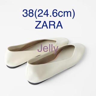 ザラ(ZARA)の【タグ付き新品】ザラ ソフトレザー バレエシューズ 白 38(バレエシューズ)