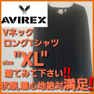 AVIREX - AVIREX アヴィレックス✨Vネックロングシャツ ロンTアメカジUSAアメリカ