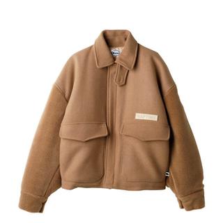 トリプルエー(AAA)のnaptime 袖ボアジャケット チェックシャツブルー(ブルゾン)