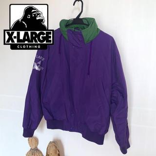 エクストララージ(XLARGE)のXLARGE 90s刺繍ロゴ セーリングジャケット パープル(ナイロンジャケット)