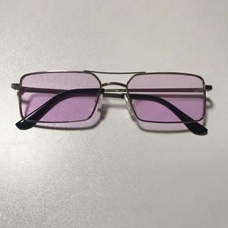 四角 カラーレンズ サングラス ピンク