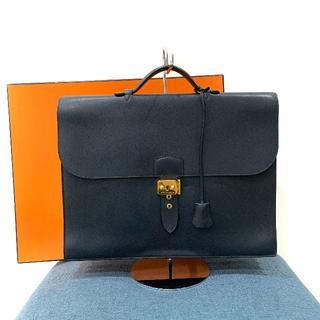 エルメス(Hermes)の美品 エルメス サックアデペッシュ38 クシュベル ネイビー(ビジネスバッグ)