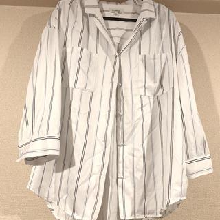 ウィゴー(WEGO)のwego ストライプシャツ 開襟シャツ Lサイズ(シャツ/ブラウス(長袖/七分))