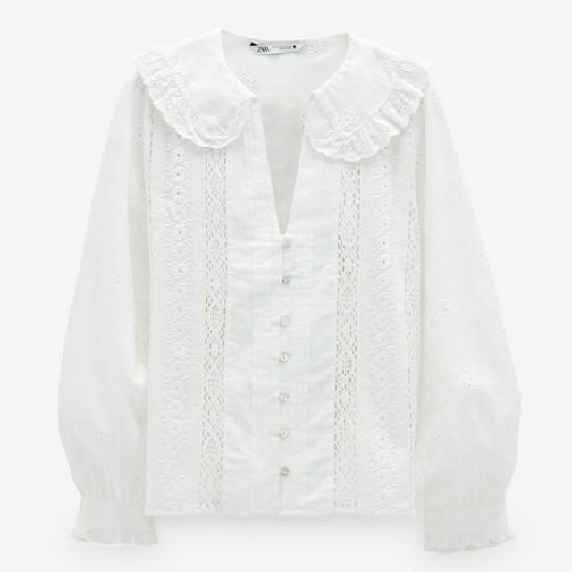 ZARA(ザラ)の新品 S ZARA 刺繍入りシャツ ホワイト 白 ザラ ブラウス レディースのトップス(シャツ/ブラウス(長袖/七分))の商品写真