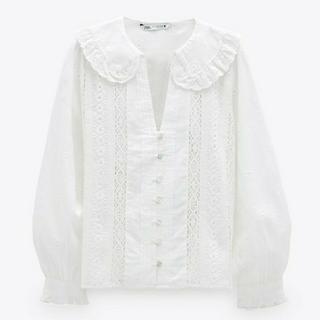 ZARA - 新品 S ZARA 刺繍入りシャツ ホワイト 白 ザラ ブラウス