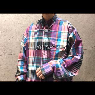 古着 ラングラー wrangler パープル チェック柄 ビッグ チェックシャツ(シャツ)
