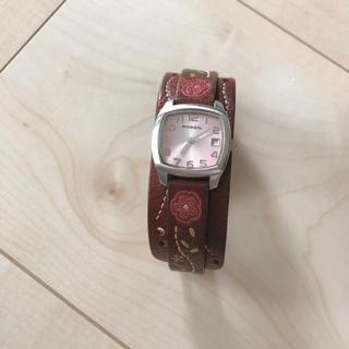 フォッシル(FOSSIL)のFOSSIL レザー 刺繍入り 腕時計(腕時計)