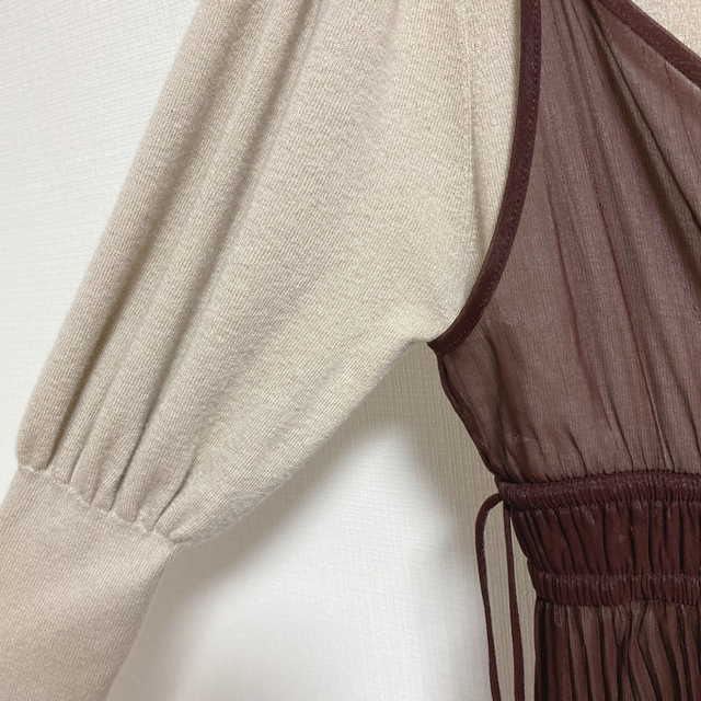 snidel(スナイデル)の美品♡シースルーキャミレイヤードニットワンピース レディースのワンピース(ひざ丈ワンピース)の商品写真