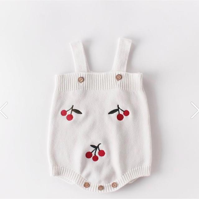 petit main(プティマイン)の週末SALE⋆︎*さくらんぼロンパース 80   韓国こども服 キッズ/ベビー/マタニティのベビー服(~85cm)(ロンパース)の商品写真
