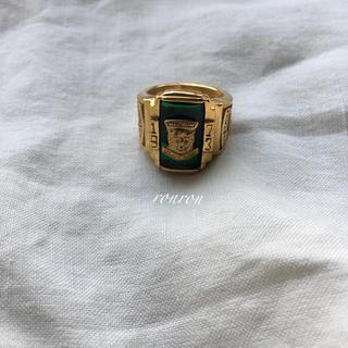 トゥデイフル(TODAYFUL)のカレッジリング緑ステンレスUS7 高品質♡ロンハーマン TOGA トゥデイフル(リング(指輪))