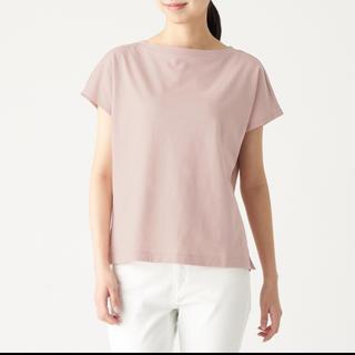 MUJI (無印良品) - ムラ糸天竺編みフレンチスリーブTシャツ 婦人L・ライトピンク