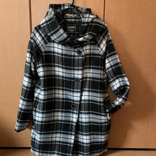 レピピアルマリオ(repipi armario)のrepipi armario☆フード付きコート黒チェック柄☆Sサイズ150(コート)