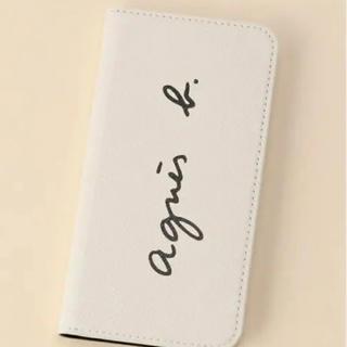 アニエスベー(agnes b.)の新品 agnesb. アニエスベー ロゴiPhoneケース 手帳型 ホワイト(iPhoneケース)