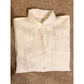 ユニクロ(UNIQLO)のユニクロ リネンシャツ S  白 ホワイト 麻 シャツ(シャツ/ブラウス(長袖/七分))