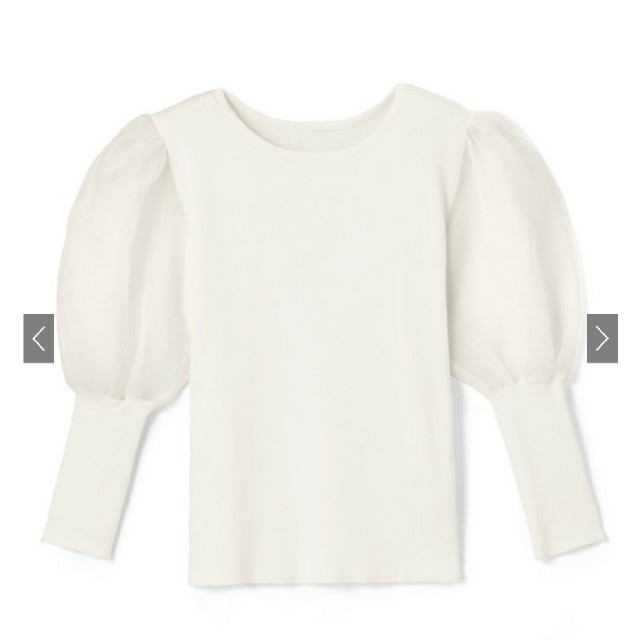 GRL(グレイル)のGRL 袖チュール切り替えトップス 新品タグ付き レディースのトップス(カットソー(半袖/袖なし))の商品写真