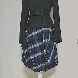 ヴィヴィアンウエストウッド(Vivienne Westwood)のVivienne Westwood レッドレーベル チェック 変形スカート(ひざ丈スカート)