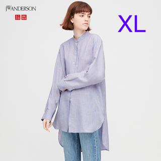 UNIQLO - ユニクロ JWアンダーソン リネンブレンドスタンドカラーシャツXL/ブルー 新品