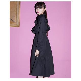 新品タグ付き [The Drop] フリルショルダードレス ブラック ワンピース