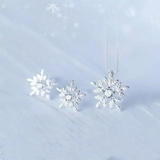 美品2点セットネックレス&ピアス 雪の結晶ペンダント 雪の花高品質 オリジナル