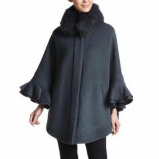 DOUBLE STANDARD CLOTHING - ダブルスタンダード ファー ケープ ポンチョ コート 黒