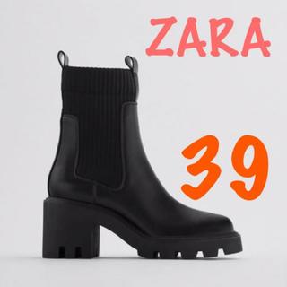 ZARA - 新品 ザラ ZARA ヒールトラックソール付きソックス風アンクルブーツ 39