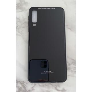ギャラクシー(Galaxy)のシンプル&可愛い耐衝撃背面9HガラスケースGalaxyA7 黒 ブラック(Androidケース)