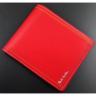 ポールスミス(Paul Smith)のお買い得☆新品箱なし ポールスミス マルチステッチ 二つ折り財布 レッド(折り財布)
