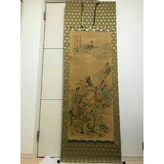 中国書画~掛軸 八仙祝寿園 肉筆 紙本 在銘 中国美術 古玩 時代 美品 合箱