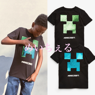 マイクロソフト(Microsoft)の【新品】ブラック Minecraft スパンコールTシャツ(オールド)(Tシャツ/カットソー)