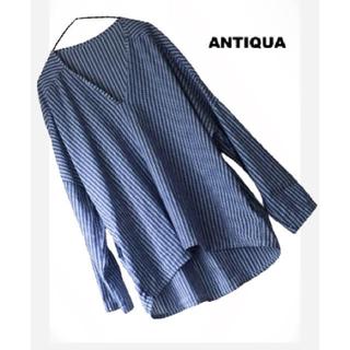 antiqua - antiqua オーバーサイズ ポケ付 長袖シャツブラウス スキッパー シャツ