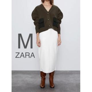 ザラ(ZARA)の【新品・未使用】ZARA コントラストポケット付き カーディガン M(ニット/セーター)
