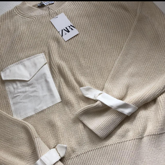 ZARA(ザラ)の【新品・未使用】ZARA ポケット付き セーター M レディースのトップス(ニット/セーター)の商品写真