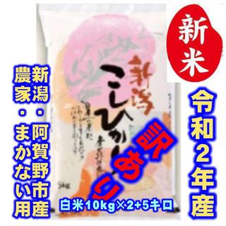新米・令和2年産新潟コシヒカリ★色彩選別済白米10㌔×2袋+5キロ農家まかない用(米/穀物)