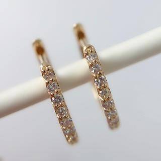 ピアス メンズ フープ K18 ダイヤモンド 0.10 中折れ 両耳 レディース
