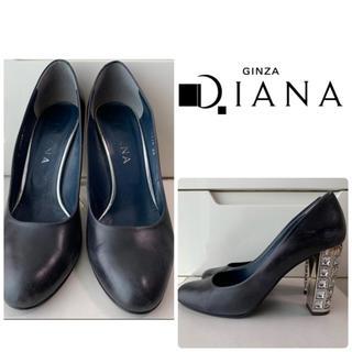 DIANA - ダイアナ ブラックレザー ビジューヒール パンプス
